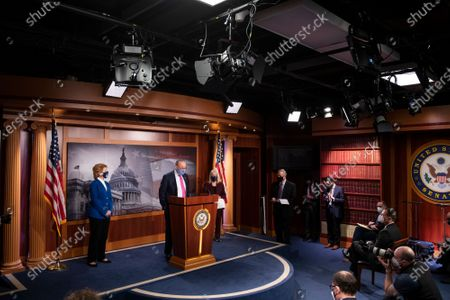 United States Senate Majority Leader Chuck Schumer (Democrat of New York), center, is joined by United States Senator Debbie Stabenow (Democrat of Michigan), left, United States Senator Patty Murray (Democrat of Washington), second from right, and United States Senate Minority Whip Dick Durbin (Democrat of Illinois), right, during a news conference at the U.S. Capitol in Washington, DC,.
