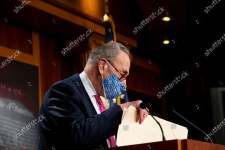 Stock Photo of United States Senate Majority Leader Chuck Schumer (Democrat of New York) offers remarks and fields questions from reporters during a news conference at the U.S. Capitol in Washington, DC,.