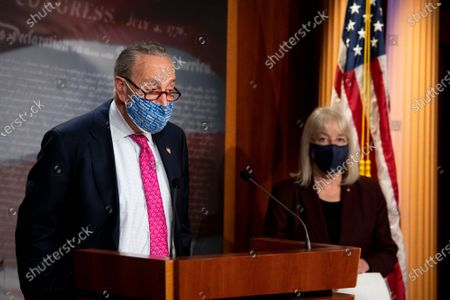 Stock Image of United States Senate Majority Leader Chuck Schumer (Democrat of New York), left, is joined by United States Senator Patty Murray (Democrat of Washington), right, during a news conference at the U.S. Capitol in Washington, DC,.