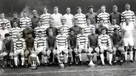 Celtic Football Club Team Group In The 1960's With Their Trophies. (back Row L-r) Jim Brogan Danny Mcgrain Joe Mcbride Dave Cattanach George Connelly John Fallon Ronnie Simpson Charlie Gallagher Quinn John Clark Kenny Dalgleish Willie O'neil. (middle Row L-r) Wraith John Hughes David Hay Jim Craig Jackie Clarke Tommy Gemmell Mckellar Bobby Murdoch Murray Steve Chalmers Livingstone. (front Row L-r) Mcmahon Jimmy Johnstone (died 3/06) Lou Macari Willie Wallace Davidson Billy Mcneill Wilson Bobby Lennox Jim Clarke Bertie Auld John Gorman. (trophies L-r) The Glasgow Cup The League Championship Cup And The League Cup. . Rexmailpix.