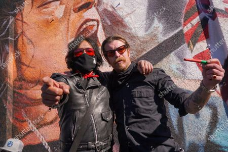 Marq Torien of Bullet Boys. Fans remember Edward Van Halen at the unveiling of a Memorial Mural by artist Robert Vagas at Guitar Center in W. Hollywood, CA on what would have been Van Halen's 66th birthday