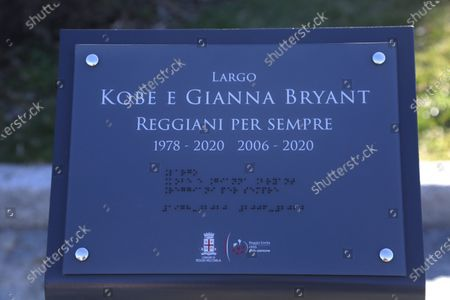 Inauguration of a square and a stone named after Kobe Bryant and his daughter Gianna on the occasion of the first anniversary of their death. Kobe Bryant lived in Italy in his childhood years when his father Jo played in some Italian basketball teams including Pallacanestro Reggiana. In the photo the plaque dedicated to Koby Bryant and his daughter Gianna