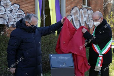 Inauguration of a square and a stone named after Kobe Bryant and his daughter Gianna on the occasion of the first anniversary of their death. Kobe Bryant lived in Italy in his childhood years when his father Jo played in some Italian basketball teams including Pallacanestro Reggiana. in the photo the mayor Luca Vecchi discovers the stone together with Stefano Landi, patron of the Reggiana Basketball