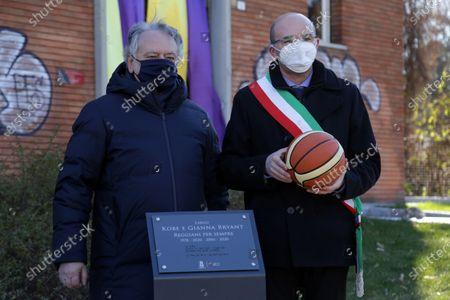 Inauguration of a square and a stone named after Kobe Bryant and his daughter Gianna on the occasion of the first anniversary of their death. Kobe Bryant lived in Italy in his childhood years when his father Jo played in some Italian basketball teams including Pallacanestro Reggiana. in the photo the mayor Luca Vecchi together with Stefano Landi, patron of the Reggiana Basketball