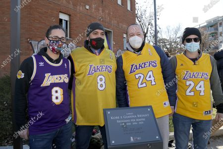 Inauguration of a square and a stone named after Kobe Bryant and his daughter Gianna on the occasion of the first anniversary of their death. Kobe Bryant lived in Italy in his childhood years when his father Jo played in some Italian basketball teams including Pallacanestro Reggiana. In the photo some fans of Kobe Bryant with the Los Angeles Lakers jersey, the team in which Kobe has played for his entire career in the NBA