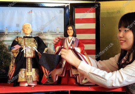 Japanese doll maker displays Joe Biden and Kamala Harris dolls for Girls' Day festival, Tokyo