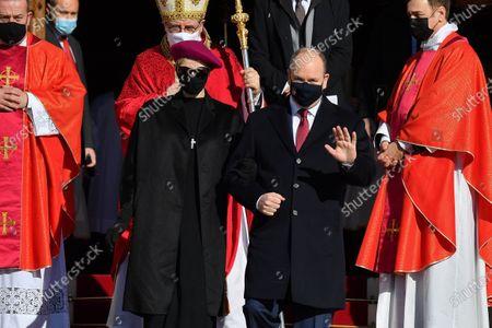 Prince Albert II of Monaco and Princess Charlene of Monaco attend the Sainte Devote Ceremony at the Monaco Cathedral. Sainte devote is the patron saint of The Principality Of Monaco and France's Mediterranean Corsica island.