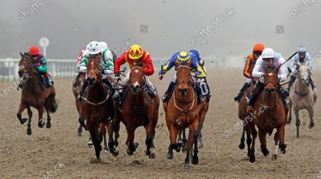 SUPERCONTANGO (2nd right, James Sullivan) beats MAHALE (right) ZEN DANCER (2nd left) and RAINBOW'S PONY (left) in The Play Ladbrokes 5-A-Side On Football Maiden Stakes Lingfield