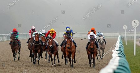 SUPERCONTANGO (2nd right, James Sullivan) beats MAHALE (right) ZEN DANCER (3rd left) and RAINBOW'S PONY (2nd left) in The Play Ladbrokes 5-A-Side On Football Maiden Stakes Lingfield