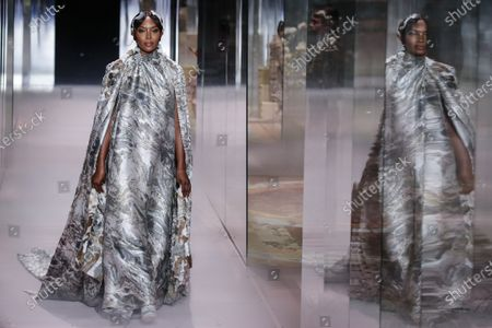 Model Naomi Campbell wears a creation for Fendi's Spring-Summer 2021 Haute Couture fashion collection presented Wednesday, Jan.27, 2021 in Paris