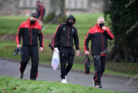 Stephen Jones, Josh Adams and Wayne Pivac during training.