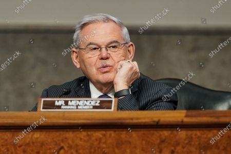 Stock Photo of United States Senator Bob Menendez (Democrat of New Jersey), Ranking Member, US Senate Committee on Foreign Relations, questions nominee for United Nations Ambassador Linda Thomas-Greenfield during her Senate Foreign Relations Committee confirmation hearing.