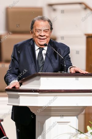 """Andrew Young, former ambassador to the United Nations, speaks during the funeral services for Henry """"Hank"""" Aaron, longtime Atlanta Braves player and Hall of Famer, on at Friendship Baptist Church in Atlanta"""