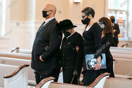"""Billye Aaron arrives for the funeral services for Henry """"Hank"""" Aaron, during his funeral at Friendship Baptist Church for Baseball Hall of Famer and Braves legend Hank Aaron, in Atlanta"""