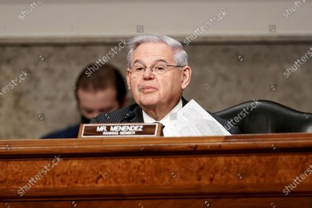 Stock Picture of Sen. Bob Menendez (D-N.J.) questions nominee for United Nations Ambassador Linda Thomas-Greenfield during her Senate Foreign Relations Committee confirmation hearing on Capitol Hill in Washington, DC