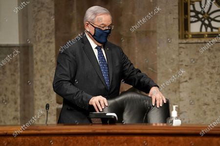 Sen. Bob Menendez (D-N.J.) arrives for a Senate Foreign Relations Committee confirmation hearing for nominee for United Nations Ambassador Linda Thomas-Greenfield on Capitol Hill