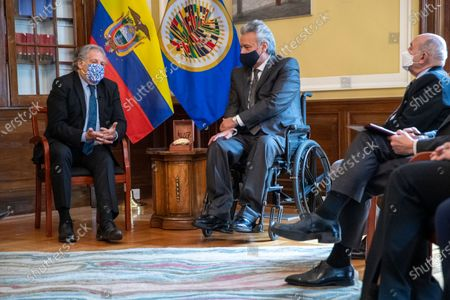 Ecuadorian President Lenin Moreno (R) talks with OAS Secretary General Luis Almagro (L) during a meeting at the Embassy of Ecuador in Washington, DC, USA, 27 January 2021. President Moreno, reaffirmed in Washington the alliance with multilateral organizations such as the International Monetary Fund (IMF), the World Bank (WB) and the Inter-American Development Bank (IDB) as a decision of the State before leaving power next May.