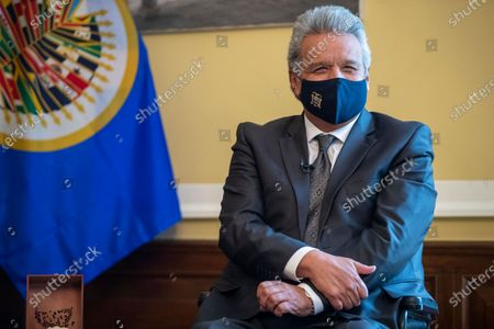 Ecuadorian President Lenin Moreno during a meeting with OAS Secretary General Luis Almagro at the Embassy of Ecuador in Washington, DC, USA, 27 January 2021. President Moreno, reaffirmed in Washington the alliance with multilateral organizations such as the International Monetary Fund (IMF), the World Bank (WB) and the Inter-American Development Bank (IDB) as a decision of the State before leaving power next May.