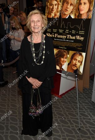 """Cloris Leachman arrives at the Los Angeles premiere of """"She's Funny That Way"""" on . Leachman, a character actor whose depth of talent brought her an Oscar for the """"The Last Picture Show"""" and Emmys for her comedic work in """"The Mary Tyler Moore Show"""" and other TV series, has died. She was 94"""