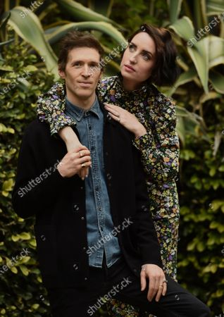 """Daryl Wein, left, and his wife Zoe Lister-Jones, the co-directors, co-writers and co-producers of """"How It Ends,"""" pose together for a portrait to promote the film for the Sundance Film Festival, in Los Angeles. Lister-Jones is also a cast member in the film"""