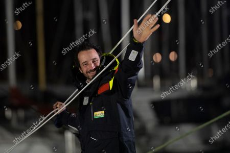 French yachtman Louis Burton waves as he arrives in the port after placing third in the Vendee Globe solo around-the-world sailing race, in Les Sables-d'Olonne, western France, Thursday, Jan.28, 2021
