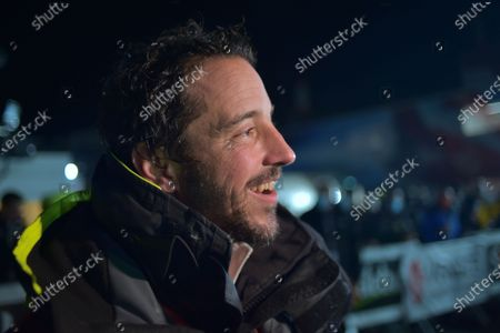 Stock Photo of French skipper Louis Burton, 35, who sailed his Imoca 60 monohull 'Bureau Vallee' in the 2020/2021 ninth edition of the Vendee Globe round-the-world solo race, speaks to media after crossing the finish line at Les Sables d'Olonne, western France, 28 January 2021. French Charlie Dalin completed the epic race in 80 days, six hours, 15 minutes and 47 seconds.