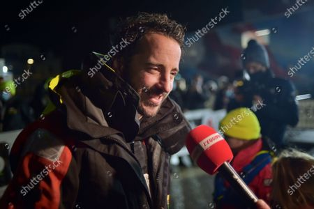 Stock Picture of French skipper Louis Burton, 35, who sailed his Imoca 60 monohull 'Bureau Vallee' in the 2020/2021 ninth edition of the Vendee Globe round-the-world solo race, speaks to media after crossing the finish line at Les Sables d'Olonne, western France, 28 January 2021. French Charlie Dalin completed the epic race in 80 days, six hours, 15 minutes and 47 seconds.