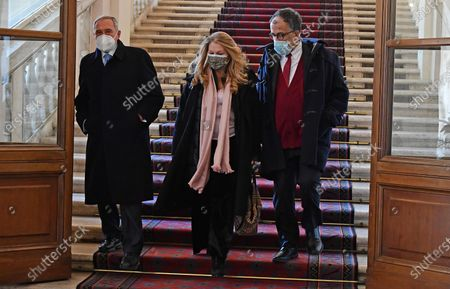 Gruppo Misto (Mixed Group) members of the Senate Sandro Ruotolo (R),  Pietro Grasso (L) and Loredana De Petris (C) leave after a meeting with Italian President Sergio Mattarella at the Quirinale Palace for the first round of formal political consultations following the resignation of Prime Minister Giuseppe Conte, in Rome, Italy, 28 January 2021.