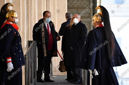 Gruppo Misto (Mixed Group) members of the Senate Sandro Ruotolo (L), and Pietro Grasso (R) arrive for a meeting with Italian President Sergio Mattarella at the Quirinale Palace for the first round of formal political consultations following the resignation of Prime Minister Giuseppe Conte, in Rome, Italy, 28 January 2021.