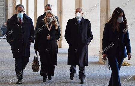 Gruppo Misto (Mixed Group) members of the Senate Sandro Ruotolo (L), Pietro Grasso (2-R) and Loredana De Petris (C) arrive for a meeting with Italian President Sergio Mattarella at the Quirinale Palace for the first round of formal political consultations following the resignation of Prime Minister Giuseppe Conte, in Rome, Italy, 28 January 2021.