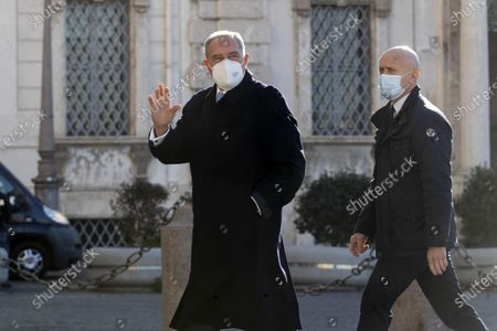Senator Pietro Grasso, of the Mixed group, arrives at the Quirinale for consultations following the resignation of the Conte government, Rome, Italy, 28 January 2021.