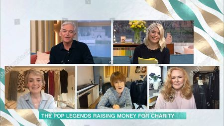 Stock Image of Phillip Schofield, Holly Willoughby, Beverley Craven, Kiki Dee and Carol Decker