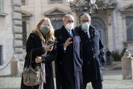 (L-R) Loredana De Petris, Pietro Grasso and Sandro Ruotolo, of mixed group, leave the Quirinal after the consultations following the resignation of the Conte government, at Quirinal Palace, Rome, Italy, 28 January 2021. President Mattarella is holding formal consultations on Italy's government crisis with the political parties represented in parliament after Premier Conte quit on 26 January as the executive no longer had an absolute majority in the Senate.