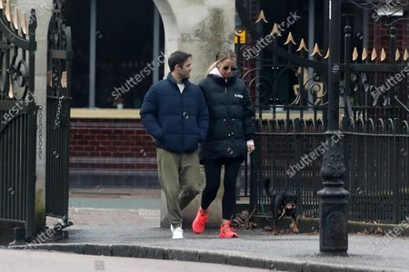 Exclusive - Vogue Williams and Spencer Matthews walking their dog