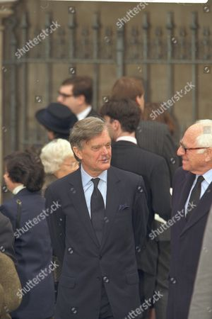 The Funeral Of Enoch Powell At Saint Margaret's Church Westminster..mp Alan Clark Pictured Outside The Church.
