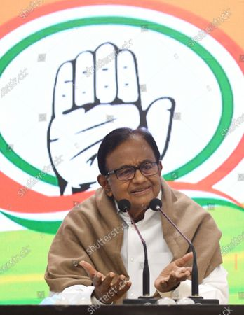 Congress party leader P. Chidambaram speaks during a press conference, in New Delhi, India, 28 January 2021. The press conference was focussed around the upcoming union budget and Congress party's expectations and views about it.