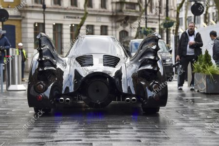 A Batmobile outside the Capital Radio studios in London's Leicester Square as a birthday surprise gift for presenter Roman Kemp's 28th birthday. Roman Kemp was gifted a Batmobile as a kid from his godfather George Michael and he still has it. Co-hosts Sonny and Sian are making it a reality for him.