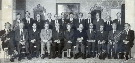 Conservative Party Pictured In 1983. Picture Shows The Cabinet At Downing Street. Back Row (l-r) John Wakeman (chief Whip) Michael Jopling (agriculture) Lord Cockfield (chancellor Of The Duchy Of Lancaster) Norman Tebbit (secretary For The State Of Employment) John Biffin (lord Privy Seal) Nicholas Edwards (sec. Of State Of Wales) Patrick Jenkins (sec. For The Environment) Norman Fowler (sec. Of State Of Social Services) Cecil Parkinson (sec. Of State For Trade And Industry) Tom King (sec. Of State For Transport) Peter Rees (chief Sec. To Treasury) Sir Robert Armstrong (sec. To The Cabinet). Front Row (l-r) Michael Heseltine (sec. Of State For Defence) James Prior (sec Of State For Northern Ireland) Nigel Lawson (chancellor Of The Exchequer) Geoffrey Howe (foreign Sec.) William Whitlaw (lord President Of The Council) Maragaret Thatcher (prime Minister) Lord Hailsham (the Lord Chancellor) Leon Brittan (home Secretary) Sir Keith Joseph (sec. Of State For Education And Science) Peter Walker (sec. State Of Energy) George Younger (sec. Of State For Scotland). . Rexmailpix.
