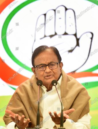 Congress leader P. Chidambaram, during a press conference at AICC on January 28, 2021 in New Delhi, India. Ahead of the Budget Session, the Congress on Thursday demanded that the government initiate cash transfers and reduce taxes.