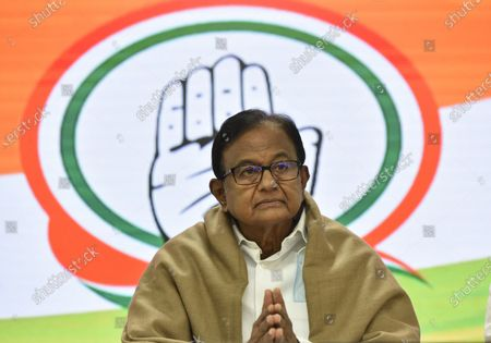 Former finance minister and Rajya Sabha MP P Chidambaram, Special Congress Party briefing on the Mismanagement of Economy by the center Government and Congress Party expectations from the Budget, at Congress HQ, Akbar Road  on January 28, 2021 in New Delhi, India.
