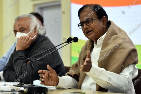 Former finance minister and Rajya Sabha MP P Chidambaram, along with congress leader Jairam Ramesh Special Congress Party briefing on the Mismanagement of Economy by the center Government and Congress Party expectations from the Budget, at Congress HQ, Akbar Road  on January 28, 2021 in New Delhi, India.