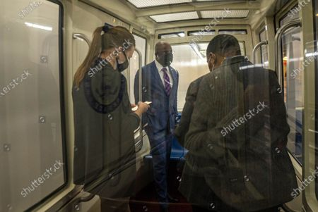 Stock Image of U.S Sen. Reverend Raphael Warnock D-GA rides the subway after a procedural vote on the confirmation of Alejandro Mayorkas to be the next Department of Homeland Security secretary on the Senate floor at the U.S. Capitol in Washington, D.C. on Thursday, January 28, 2021. The vote of 55-42, advanced the confirmation vote scheduled for Monday.