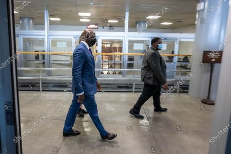 U.S Sen. Reverend Raphael Warnock D-GA gets off the subway after a procedural vote on the confirmation of Alejandro Mayorkas to be the next Department of Homeland Security secretary on the Senate floor at the U.S. Capitol in Washington, D.C. on Thursday, January 28, 2021. The vote of 55-42, advanced the confirmation vote scheduled for Monday.
