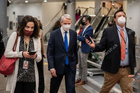 Stock Photo of U.S. Sen. Robert Portman R-OH, speaks to reporters after a procedural vote on the confirmation of Alejandro Mayorkas to be the next Department of Homeland Security secretary on the Senate floor at the U.S. Capitol in Washington, D.C. on Thursday, January 28, 2021. The vote of 55-42, advanced the confirmation vote scheduled for Monday.