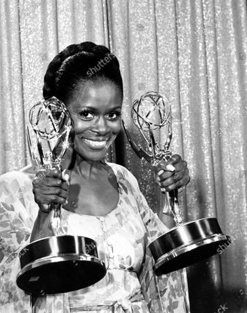 """Cicely Tyson poses with her Emmy statuettes at the annual Emmy Awards presentation in Los Angeles, Ca., . Tyson won for her role in """"The Autobiography of Miss Jane Pittman"""" for actress of the year, special, and best lead actress in a television drama for a special program. Tyson, the pioneering Black actress who gained an Oscar nomination for her role as the sharecropper's wife in """"Sounder,"""" a Tony Award in 2013 at age 88 and touched TV viewers' hearts in """"The Autobiography of Miss Jane Pittman,"""" has died. She was 96. Tyson's death was announced by her family, via her manager Larry Thompson, who did not immediately provide additional details"""