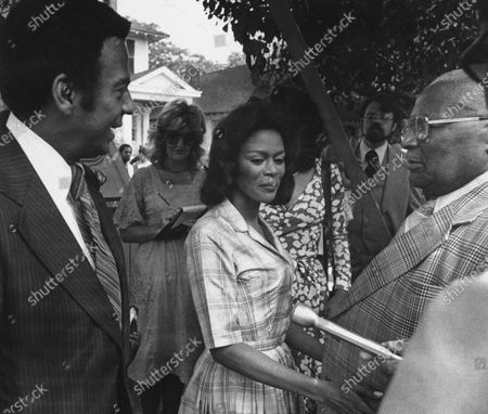 "Ambassador Andrew Young, from left, talks to actress Cicely Tyson and Rev. Martin Luther King, Sr. on the set of ""Martin Luther King, Jr."" being filmed in Macon in 1977. Tyson, the pioneering Black actress who gained an Oscar nomination for her role as the sharecropper's wife in ""Sounder,"" a Tony Award in 2013 at age 88 and touched TV viewers' hearts in ""The Autobiography of Miss Jane Pittman,"" has died. She was 96. Tyson's death was announced by her family, via her manager Larry Thompson, who did not immediately provide additional details"