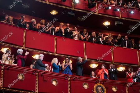 United States President Barack Obama and First Lady Michelle Obama attend the Kennedy Center Honors at the Kennedy Center in Washington, DC, USA, 06. The 2015 Kennedy Center honorees are: singer-songwriter Carole King, filmmaker George Lucas, actress and singer Rita Moreno, conductor Seiji Ozawa, and actress and Broadway star Cicely Tyson. From left to right: Cicely Tyson, Rita Moreno, George Lucas, Carole King, Michelle Obama and President Obama. Also visible are Valerie Jarrett, Julie Chen and Les Moonves.