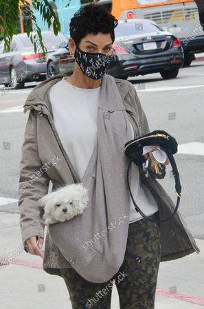 Exclusive - Nicole Murphy out and about with her dog on a chilly day in Beverly Hills