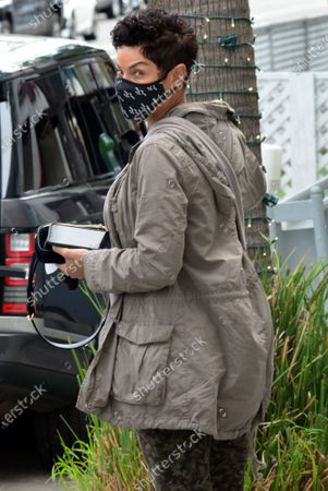 Stock Picture of Exclusive - Nicole Murphy out and about with her dog on a chilly day in Beverly Hills