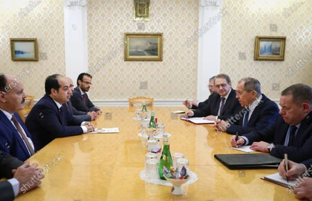 In this photo released by Russian Foreign Ministry Press Service, Russian Foreign Minister Sergey Lavrov, second right, speaks to Libyan Vice President of the Presidential Council Ahmed Maiteeq, second left, during their meeting in Moscow, Russia